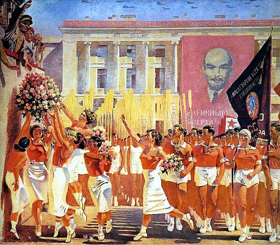 Alexander Samochwalow. Kirow nimmt eine Parade von Athleten ab, 1935.