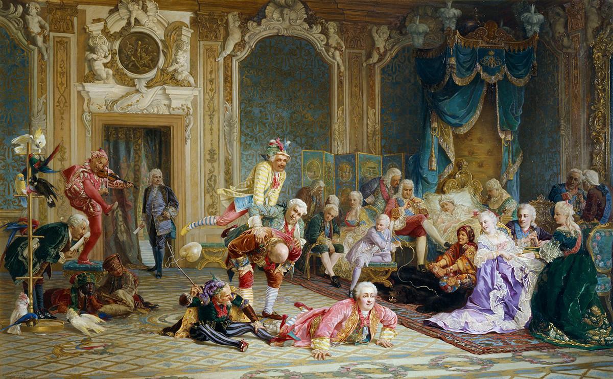 """Valery Jacobi, """"Die Hofnarren von Anna Iwanowna"""" (1872)."""