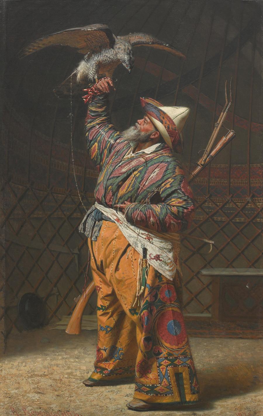 Riche chasseur kirghize avec un faucon, 1871