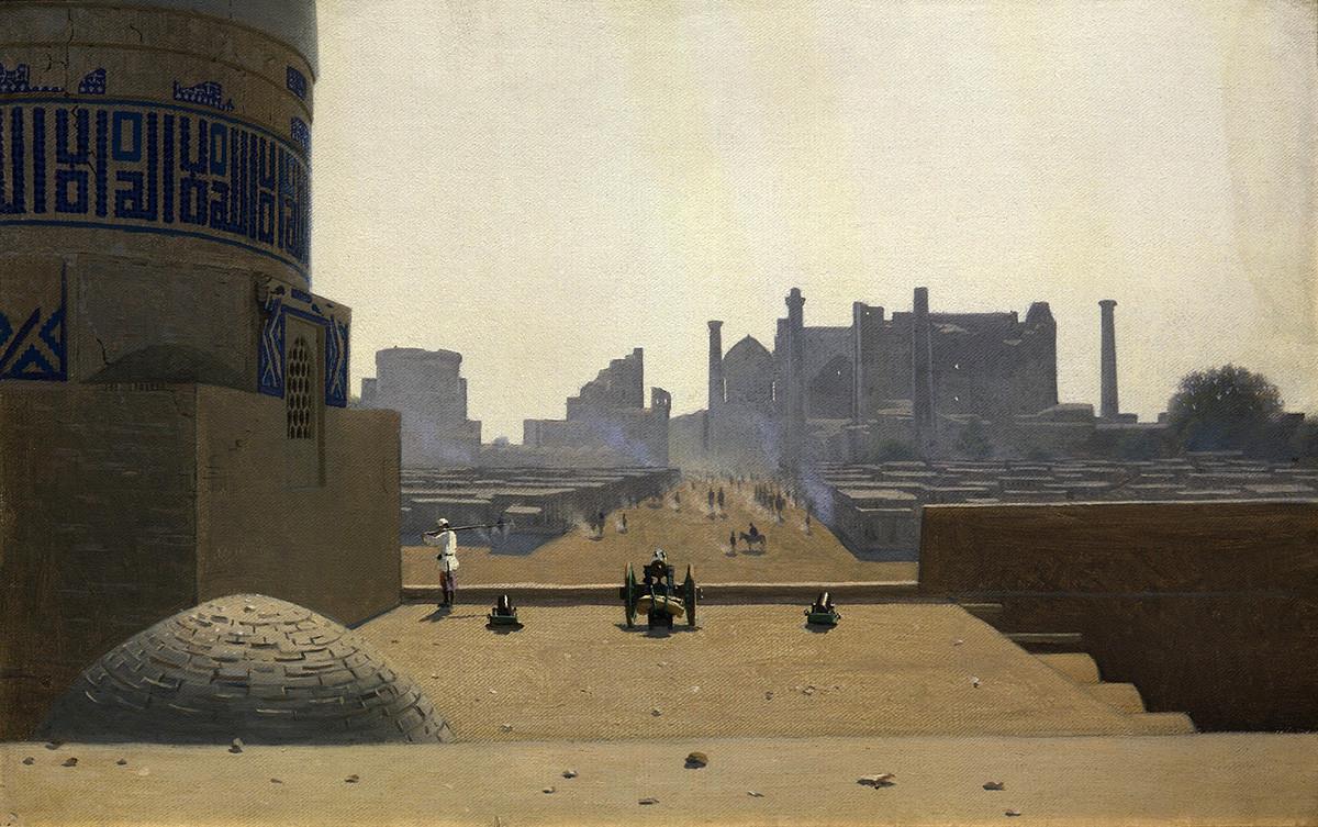 Rue principale de Samarkand depuis la hauteur de la citadelle au petit matin, 1870