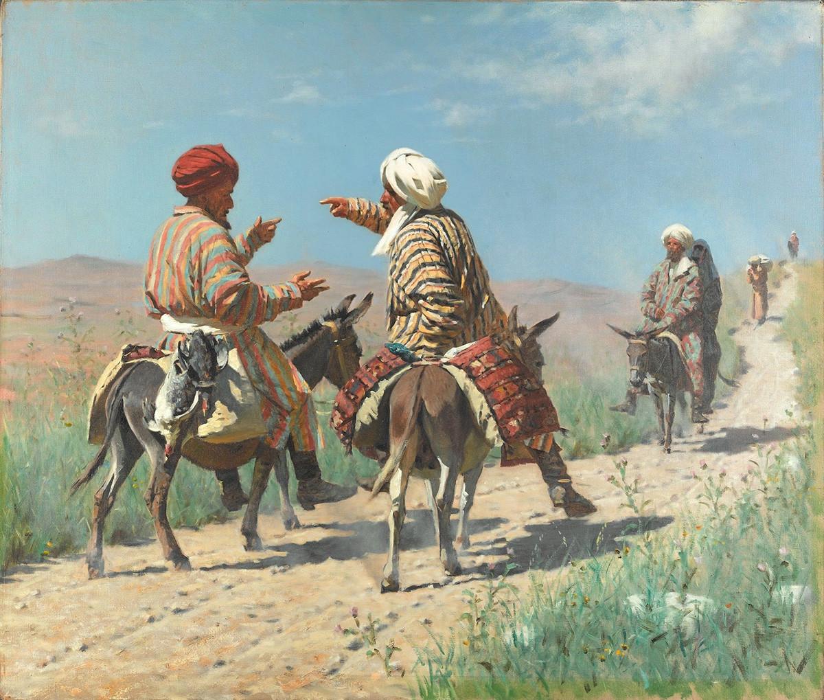 Le mollah Rahim et le mollah Kerim en route pour le bazar se querellent, 1873