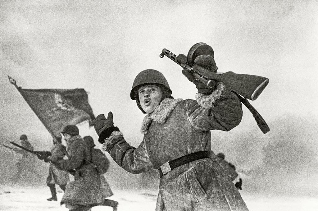 Scène de l'une des batailles près de Leningrad