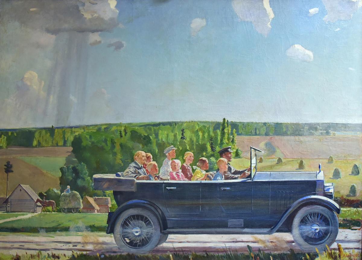アレクサンドル・デイネカ「子供たちと一緒に車に乗るレーニン」