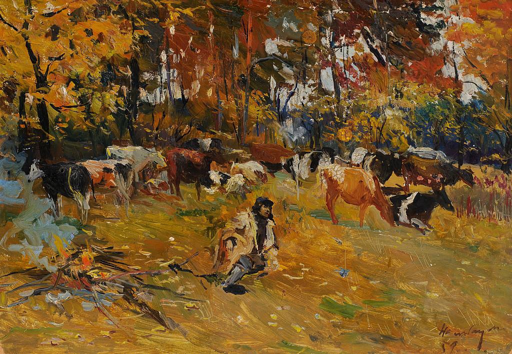 ドミトリー・ナルバンジャン「秋の朝に 焚火の前。休憩」