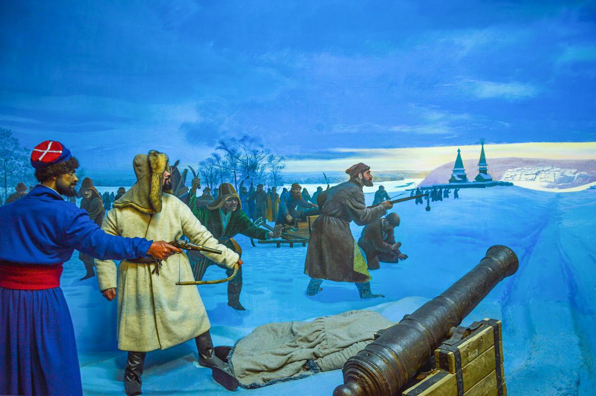 Reconstitution des affrontements entre Russes et Français au Musée national de la République de Bachkirie, à Oufa. L'on peut voir ici des combattants bachkirs, reconnaissables à leur coiffe.
