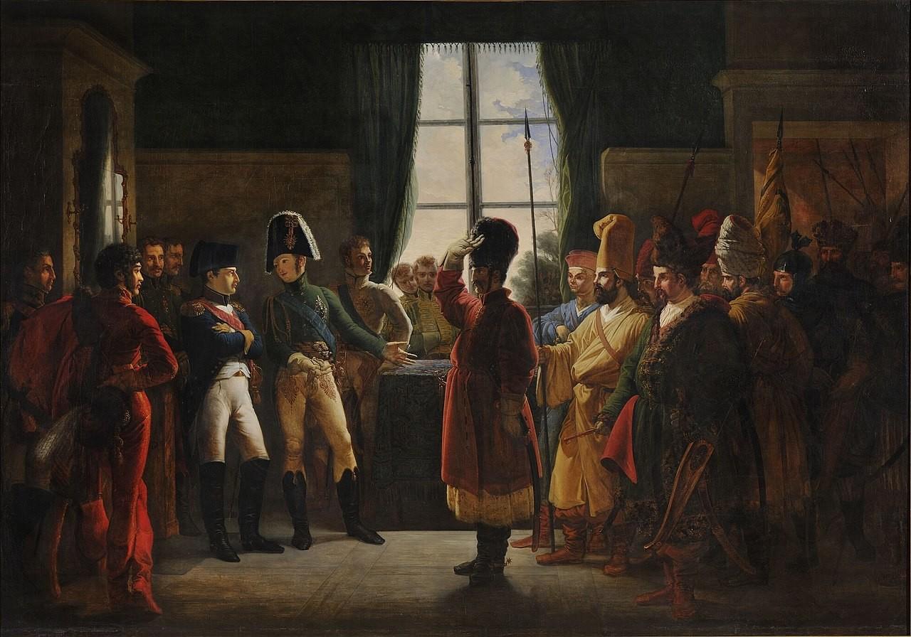 «Alexandre Ier présente à Napoléon les Kalmouks, les Cosaques et les Backirs de l'armée russe (9 juillet 1807)». Tableau de Pierre-Nolasque Bergeret