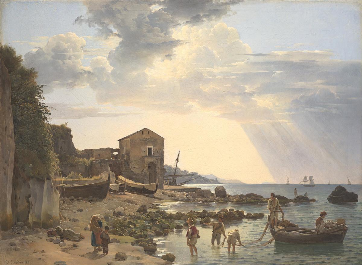 Petit port de Sorrente surplombant les îles d'Ischia et Procida, 1826