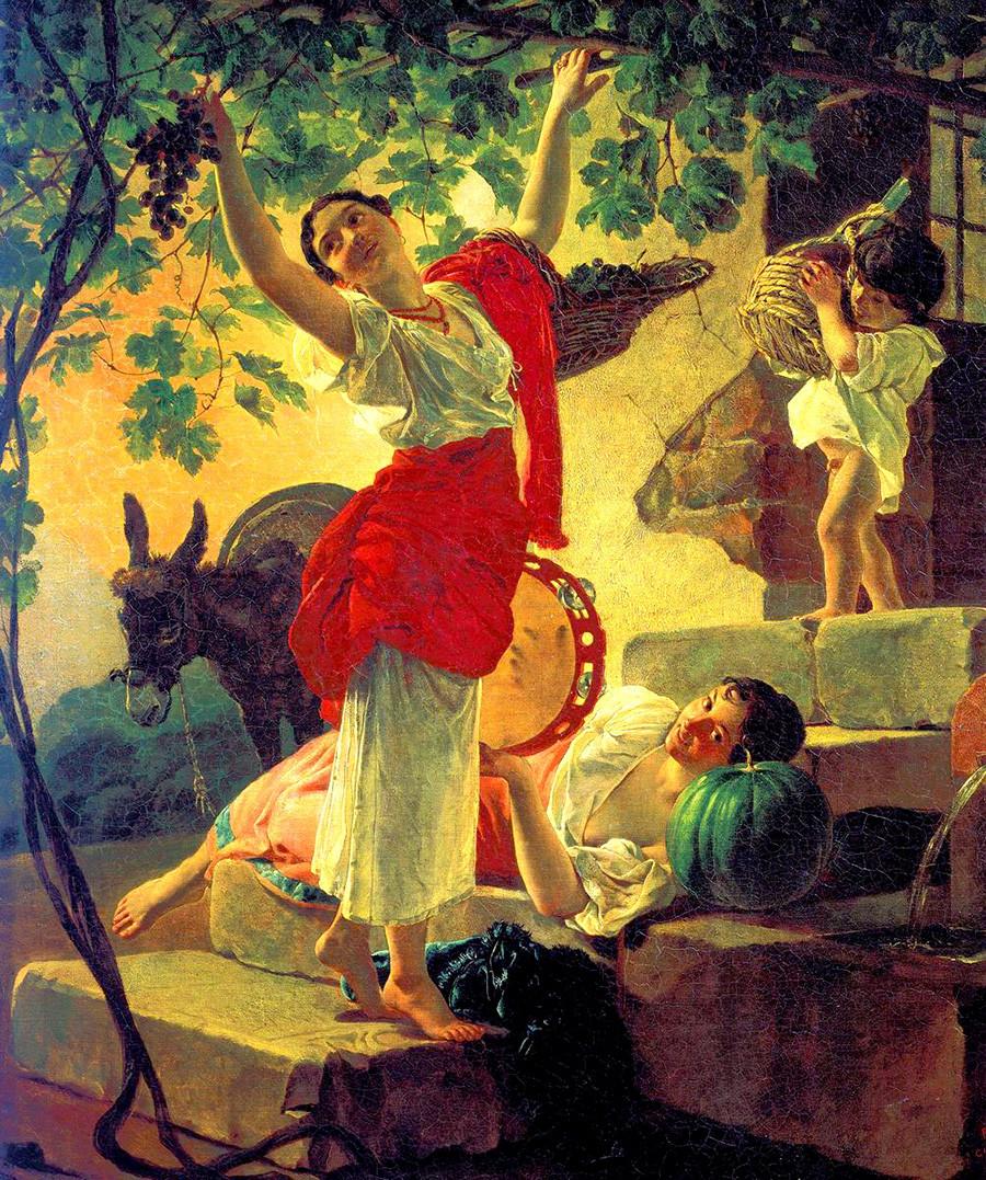 Jeune fille récoltant des raisins dans les environs de Naples 1827