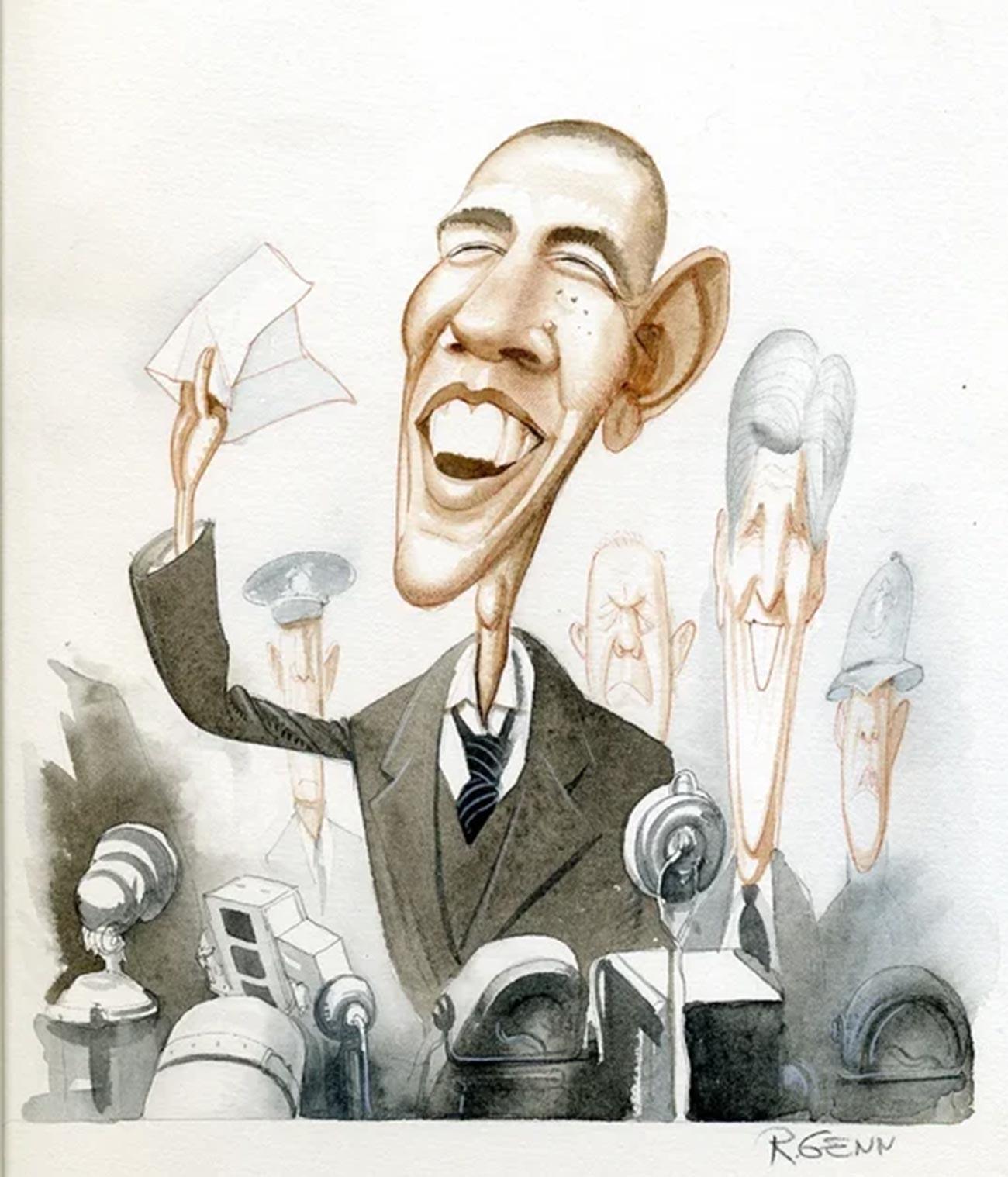 バラク・オバマ(後ろはジョン・ケリー)