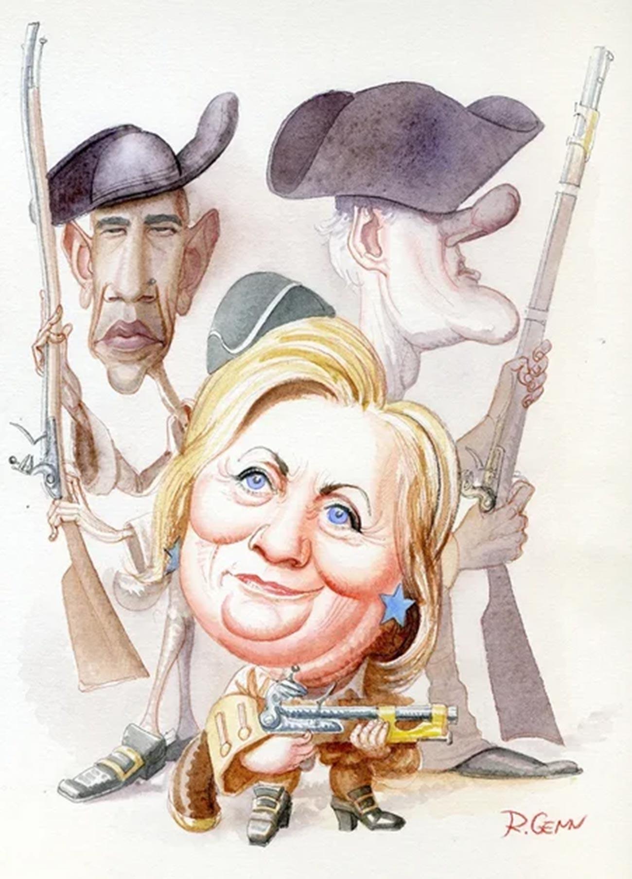 ヒラリー・クリントン(後ろはバラク・オバマとビル・クリントン)
