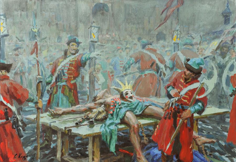 """Skizze für das Gemälde """"Zeit der Wirren. Falscher Dmitri I."""" von Sergei Kirillow."""