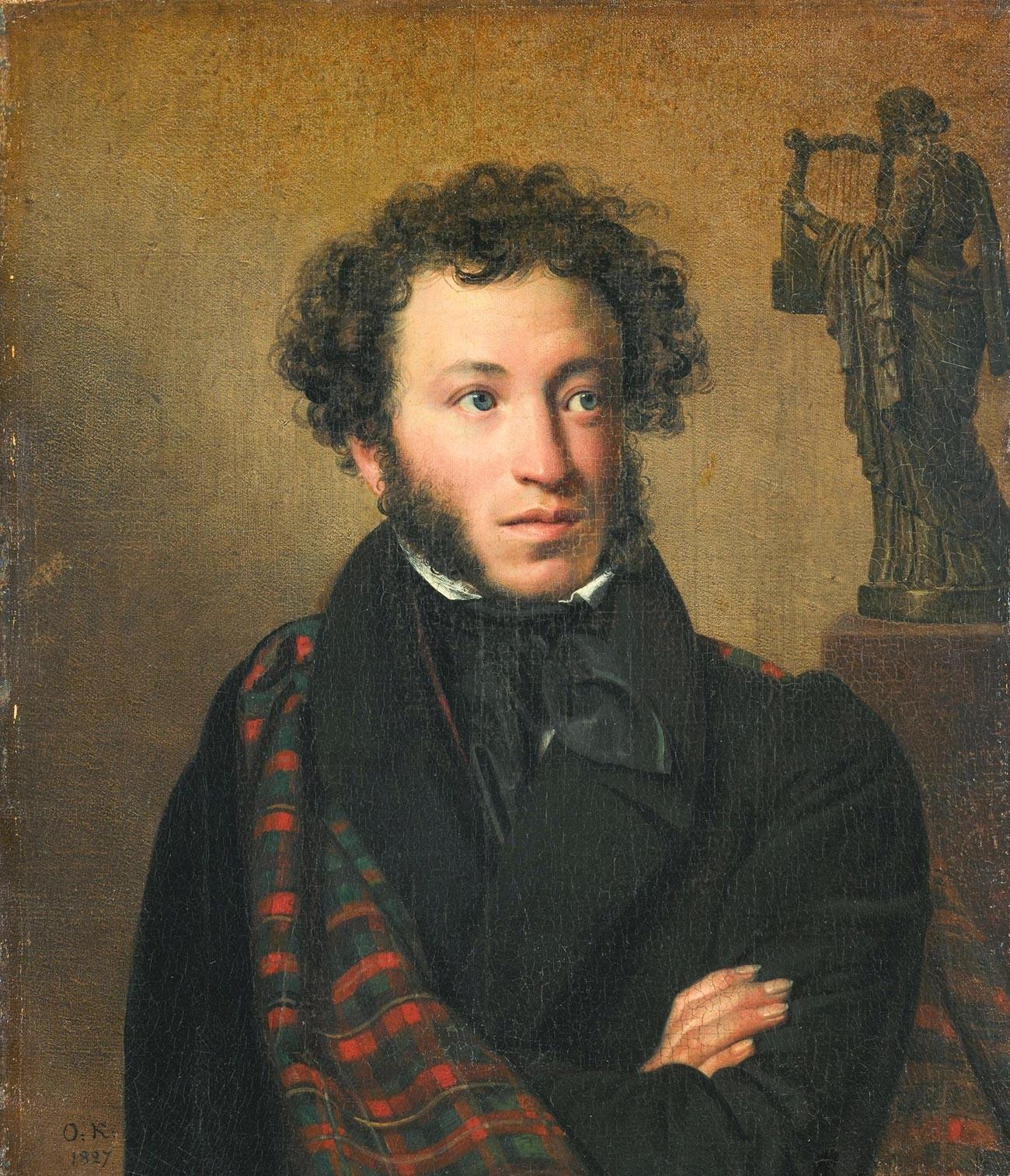 Porträt von Alexander Puschkin von Orest Kiprenski.