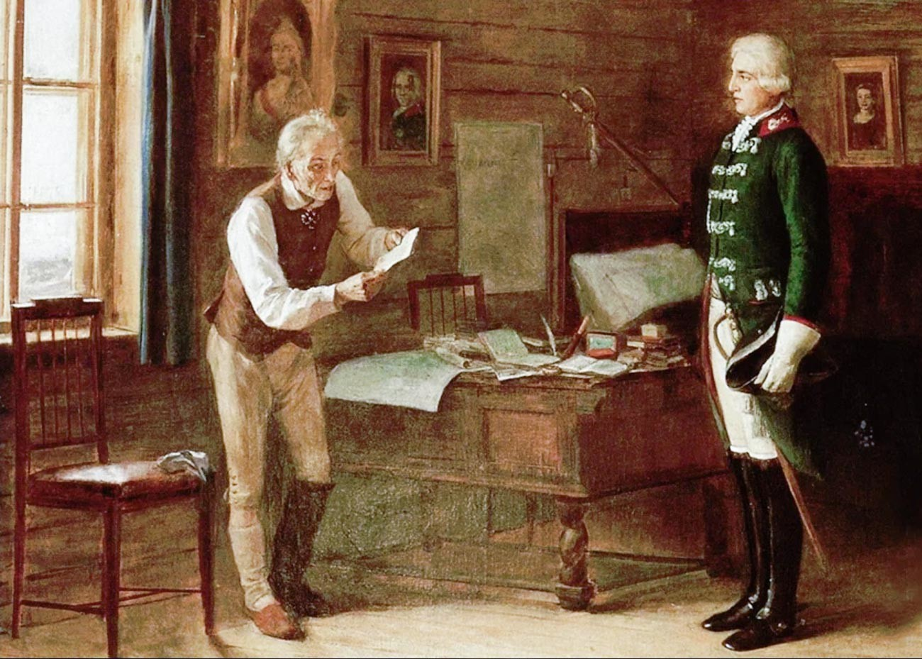 An exiled Suvorov receiving orders to lead the Russian Army against Napoleon