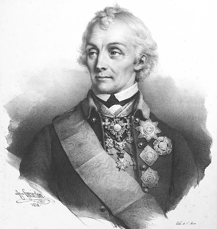 Полководец Суворов Александр Васильевич. Литография 1828 г.