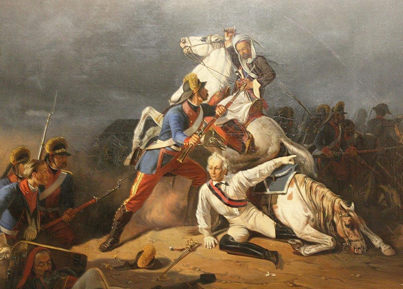 Спасение генерал-аншефа А.В. Суворова гренадером Новиковым в сражении при Кинбурне 1 октября 1787 года.