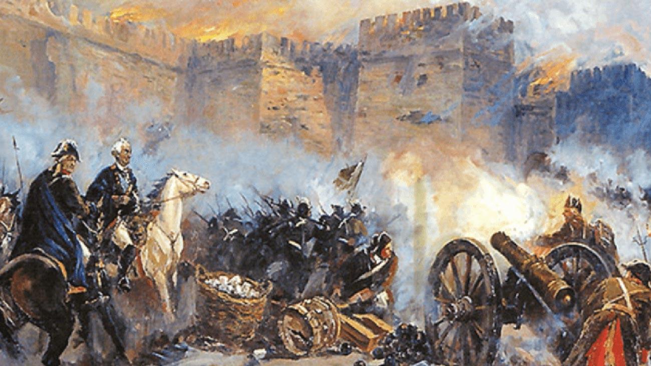 Действия русской артиллерии во время штурма крепости Измаил в 1790 году.