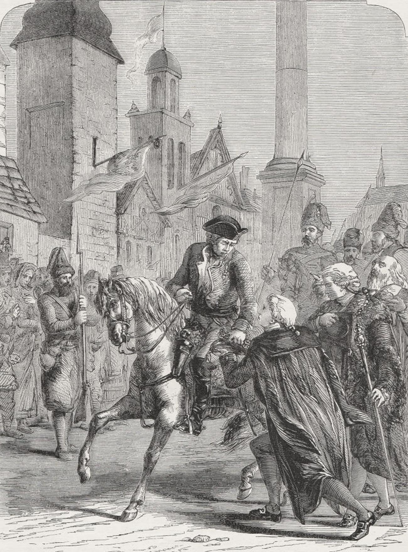 Капитулираща Варшава. Гравюра, 1878 г.