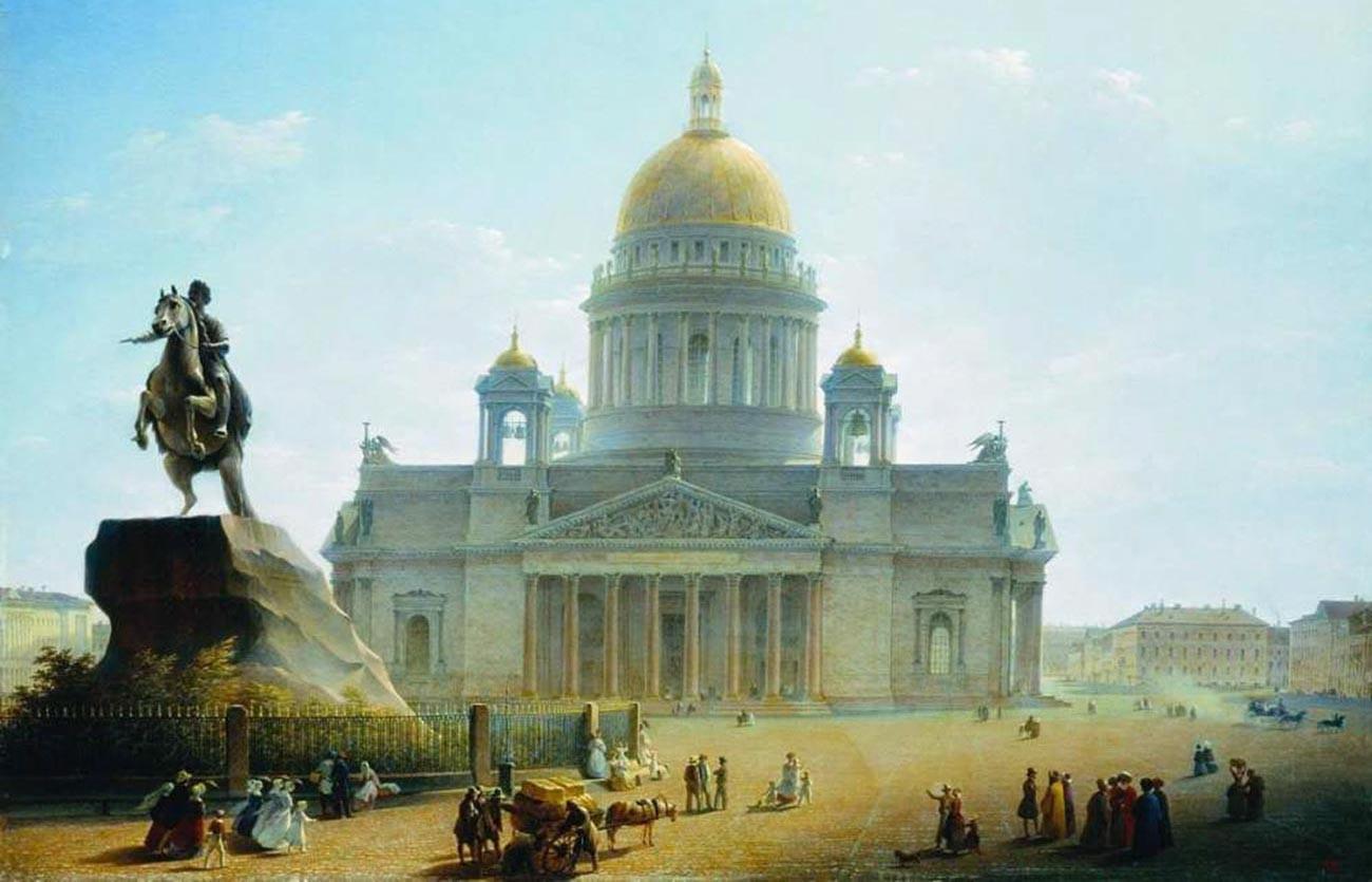 Maxim Vorobiev.  Izaäkkathedraal en Monument voor Peter de Grote, 1844