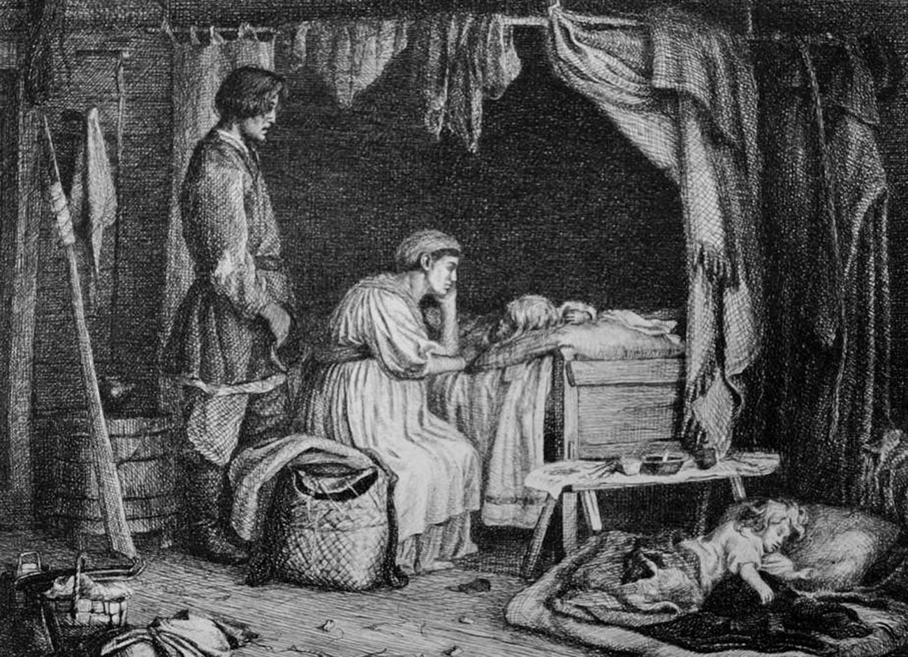 La mayoría de las familias campesinas de Rusia eran terriblemente pobres. Nacían muchos niños, pero muchos morían en la infancia.