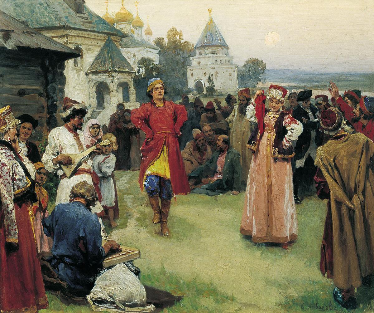 "Klavdy Lebedev. ""Pliaska"", 1900. Museu Estatal de Artes Kasteiev, Almati, Cazaquistão."