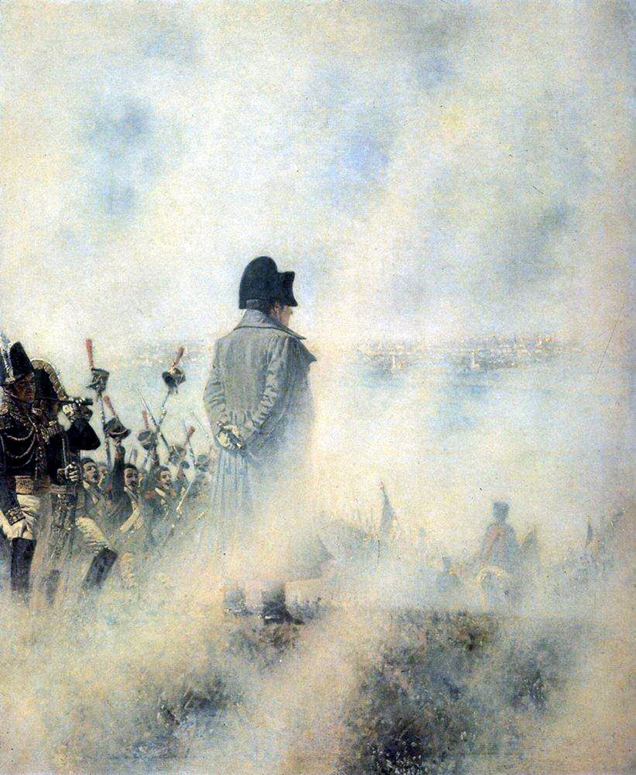 """""""Cerca de Moscú. Esperando a la delegación de los boyardos"""". De la serie de pinturas """"Napoleón en Rusia"""" de Vasili Vereschagin."""
