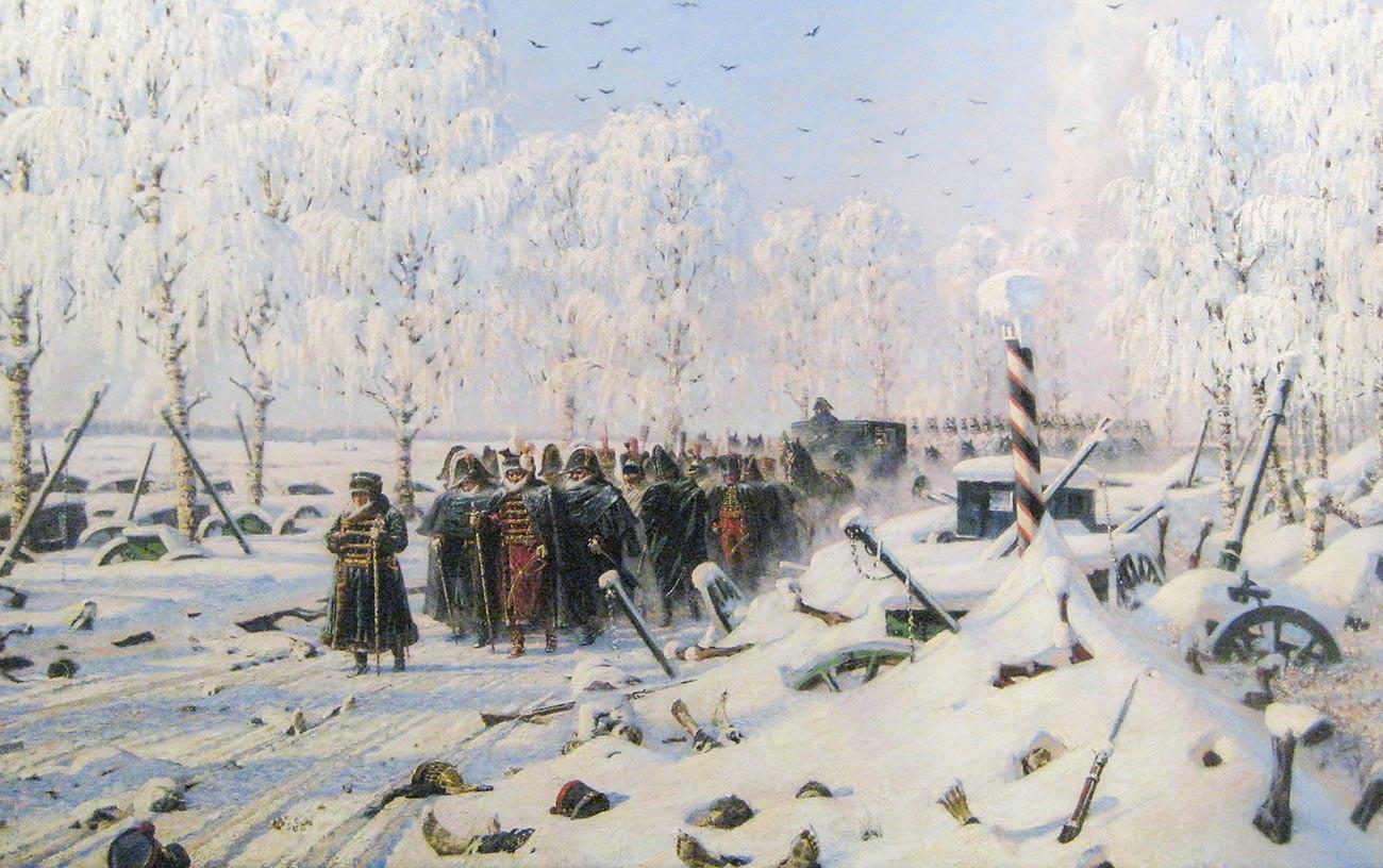 """""""En el gran camino de la retirada"""". De la serie de pinturas """"Napoleón en Rusia"""" de Vasili Vereschagin."""