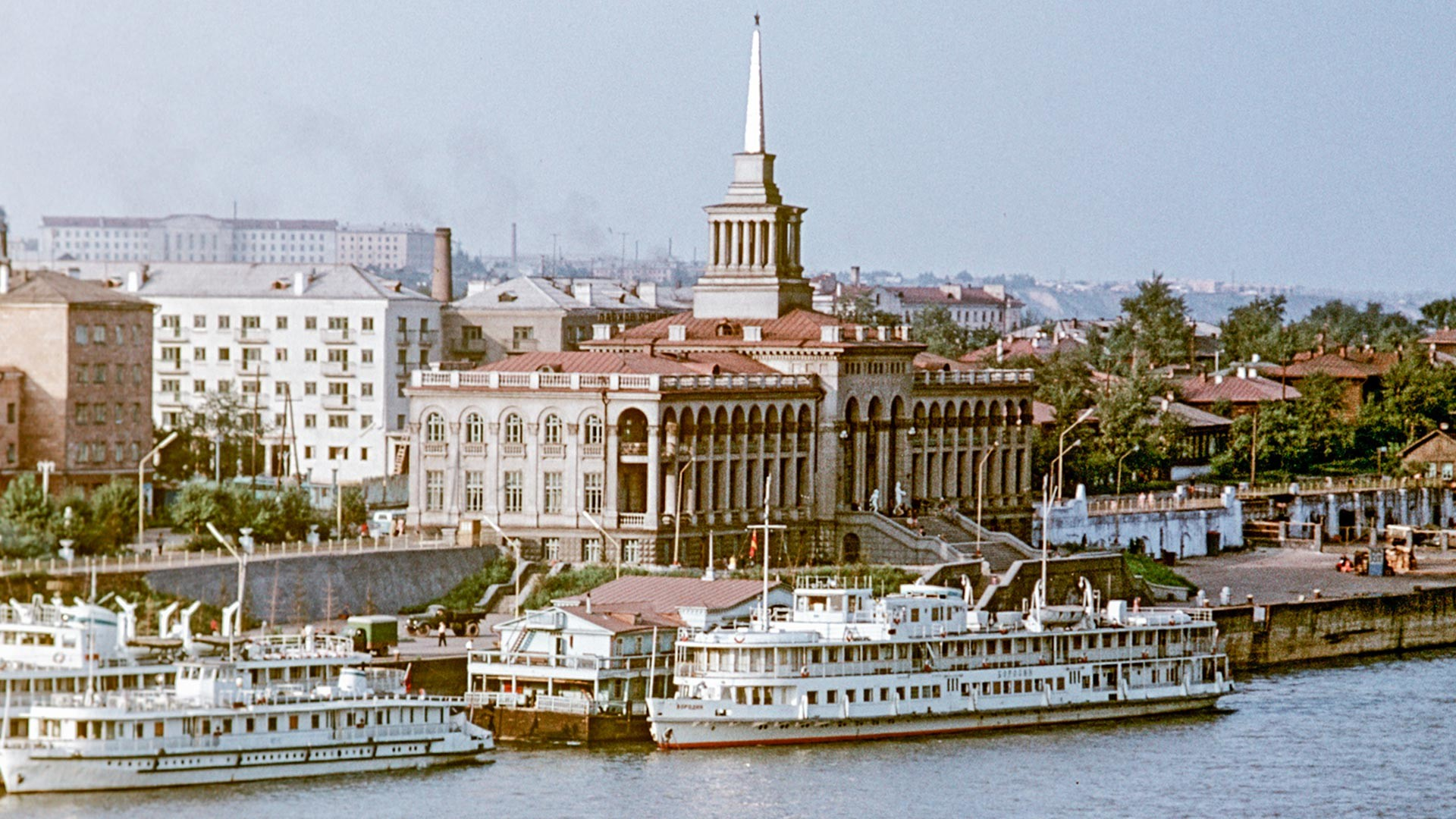 View of a river terminal in Krasnoyarsk, East Siberia, 1965.