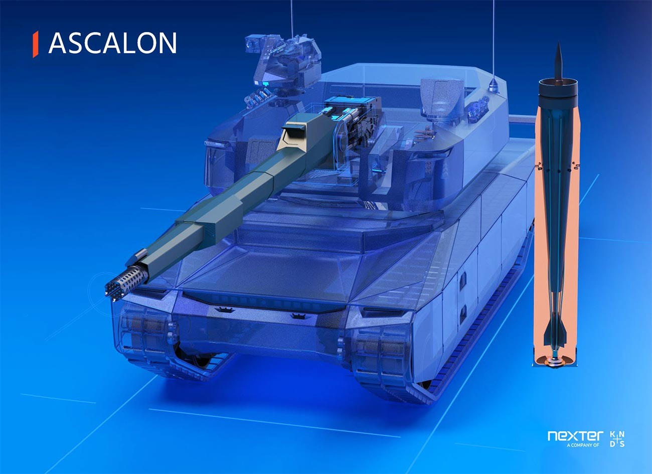 Възможен външен вид на френското перспективно танково оръдие от нов тип Nexter ASCALON