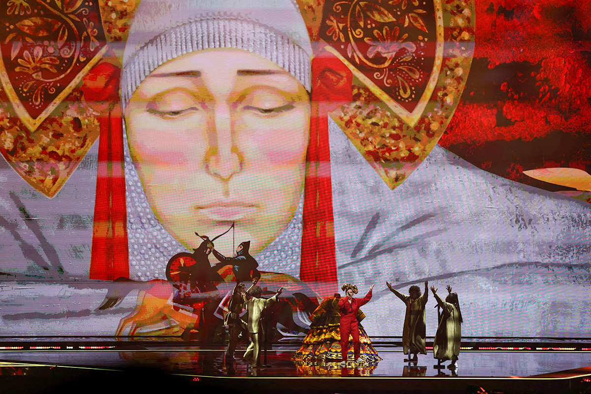 Russia's Manizha performs during the first semi-final of the 65th edition of the Eurovision Song Contest 2021, at the Ahoy convention centre in Rotterdam, on May 18, 2021