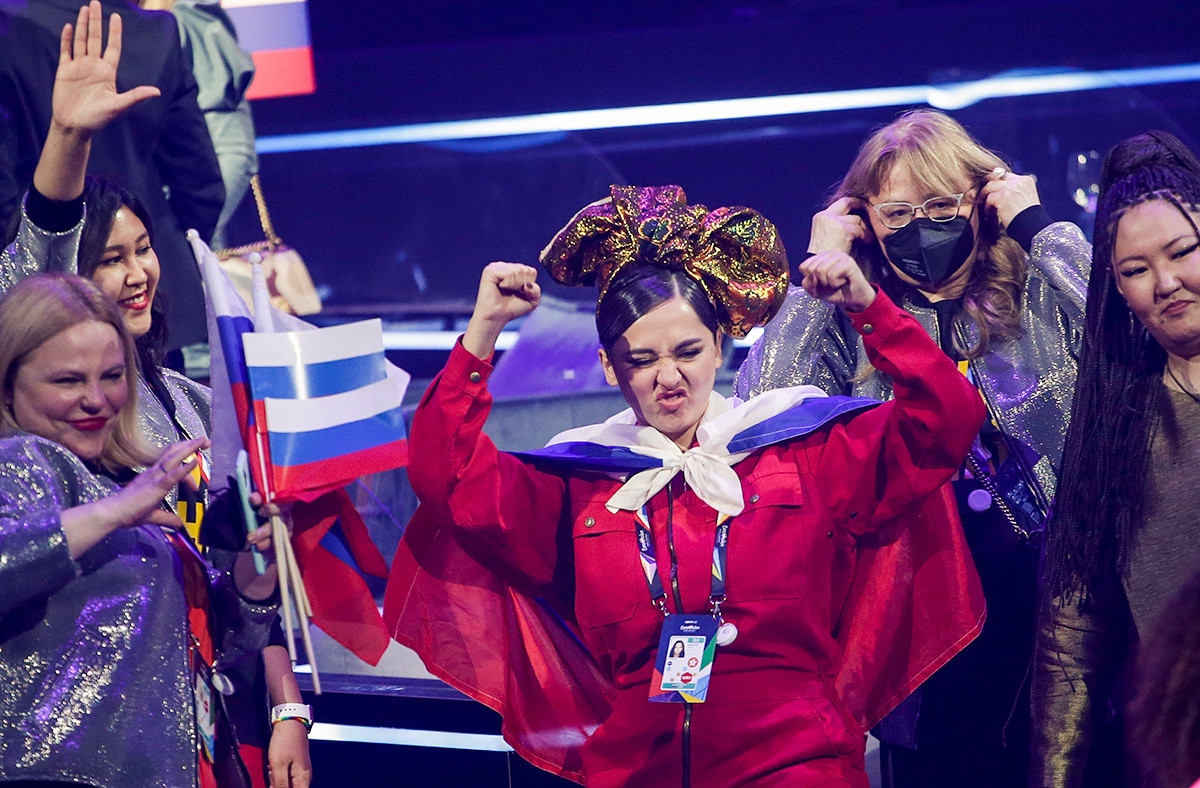 Manizha from Russia celebrates qualifying after the first semifinal of the Eurovision Song Contest at Ahoy arena in Rotterdam, Netherlands, Tuesday, May 18, 2021