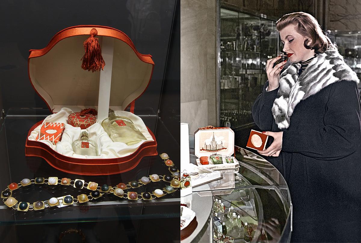 A la izquierda: Conjunto de perfumes 'Moscú Rojo'. A la derecha: Una mujer en una perfumería de Moscú eligiendo un perfume, 1958