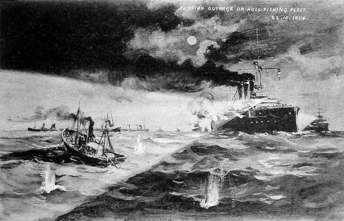 Русские корабли обстреливают британские рыболовецкие суда.
