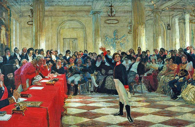 Alexánder Sergueievich Pushkin recita su poema ante Gavrila Derzhavin durante el examen del Liceo de Tsárskoye Selo el 8 de enero de 1815