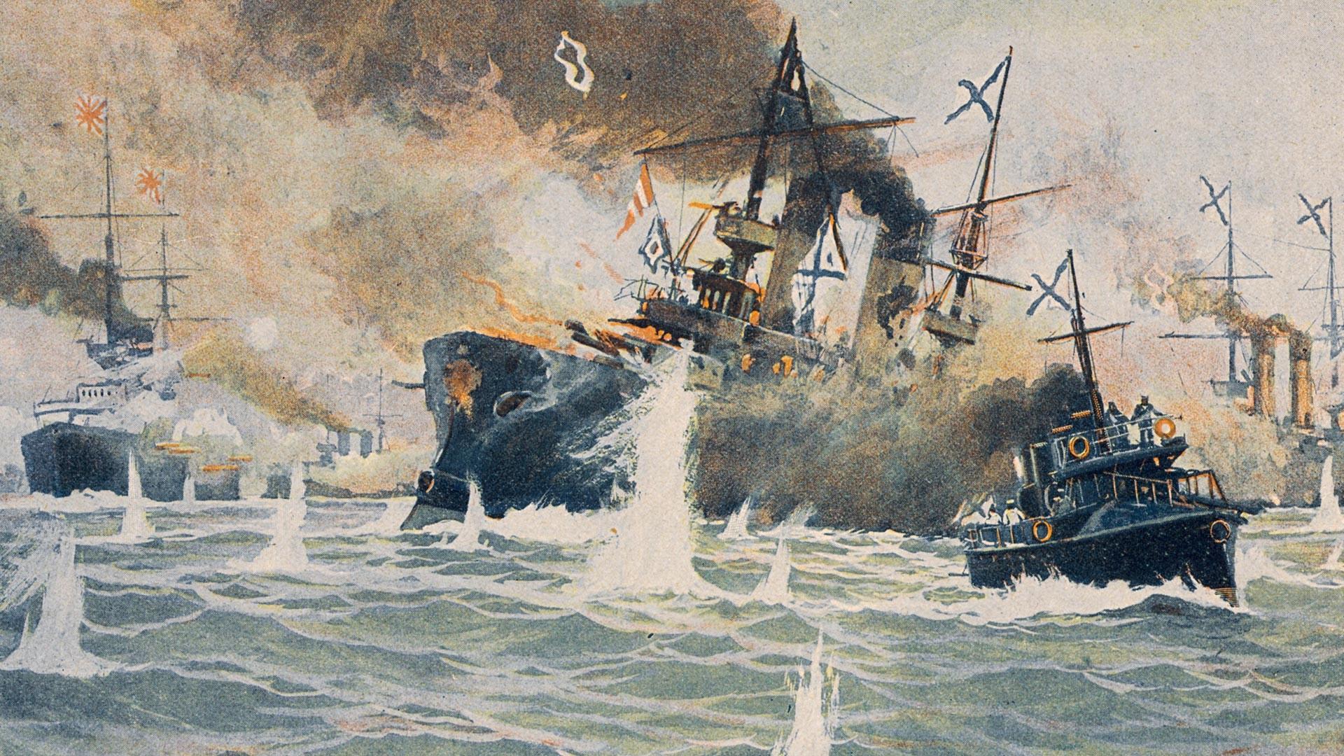 日本海海戦。ロジェストヴェンスキー少将は沈没船『ボロジノ』から魚雷艇『ブイニス』へ移動する。