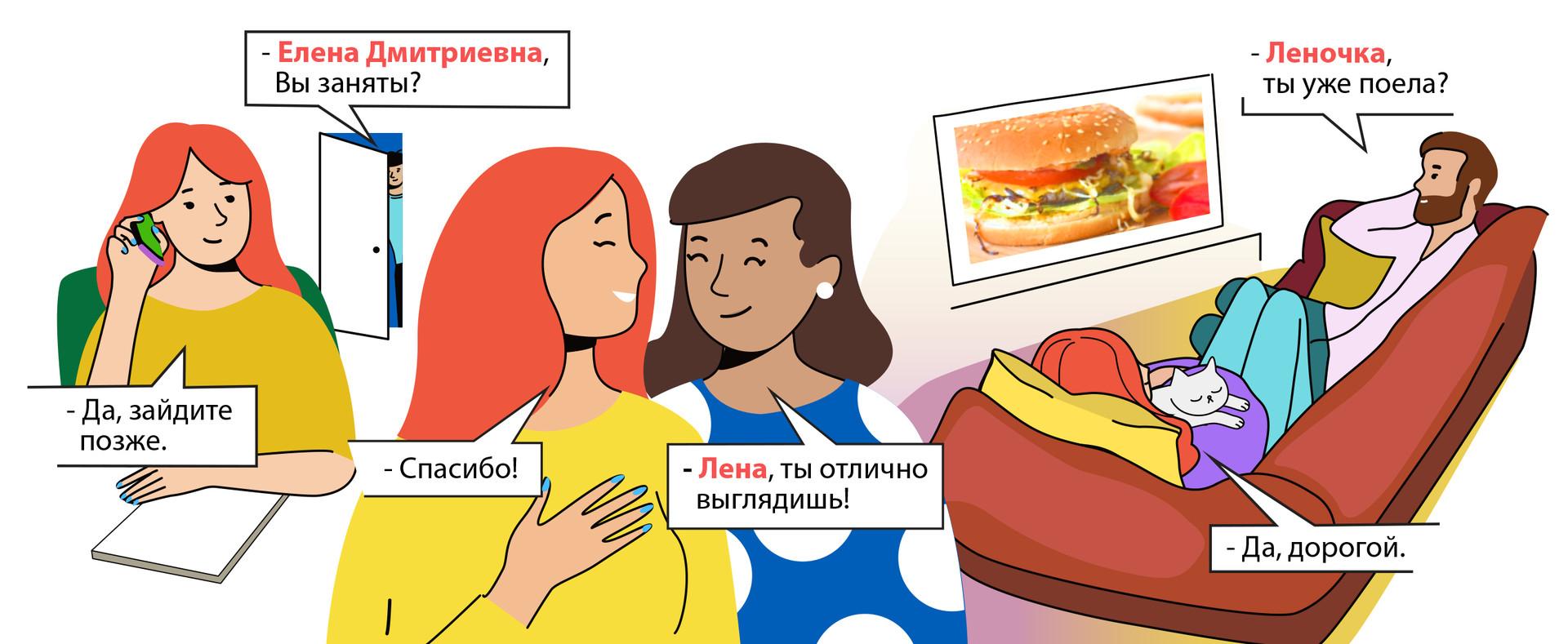 1- Elena Dmitrievna, vous êtes occupée ? - Oui, passez plus tard. 2 - Lena, tu as une allure parfaite ! - Merci ! 3 - Lenotchka, tu as déjà mangé ? - Oui, mon chéri.