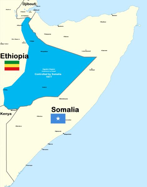 Mapa de la guerra etíope-somalí 1977