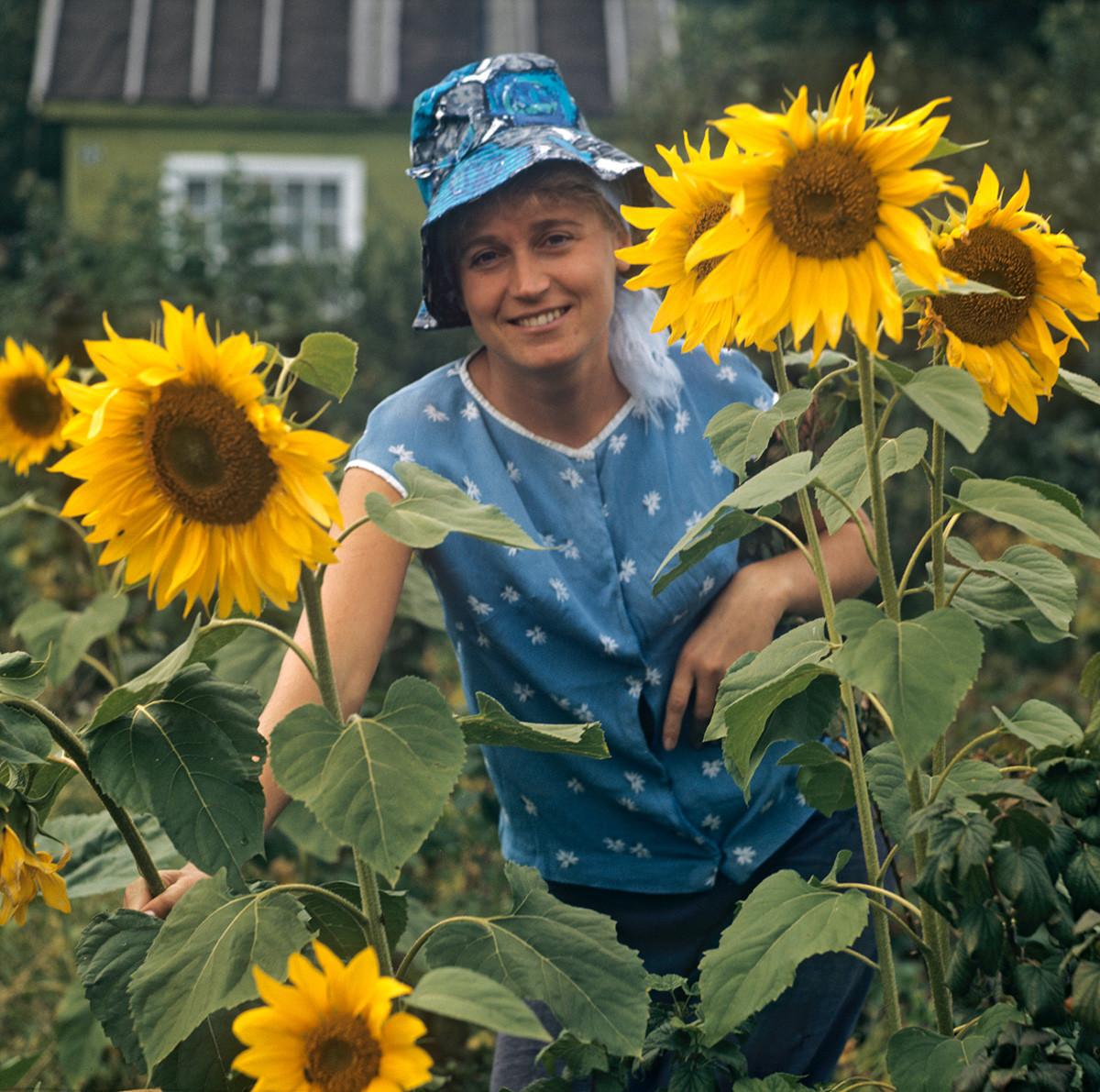 Una donna, ingegnere di una fabbrica di macchinari pesanti, tra i girasoli coltivati nella sua dacia