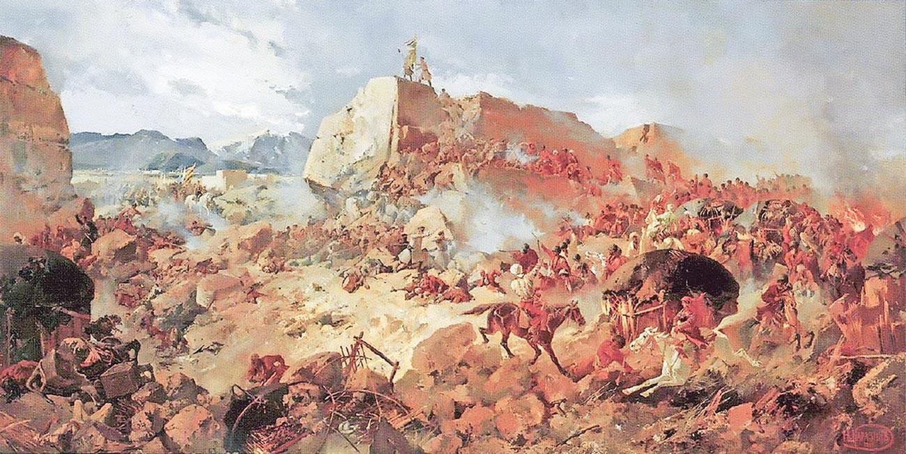 L'assalto russo alla fortezza di Geok Tepe durante l'assedio del 1880-1881. Pittura ad olio