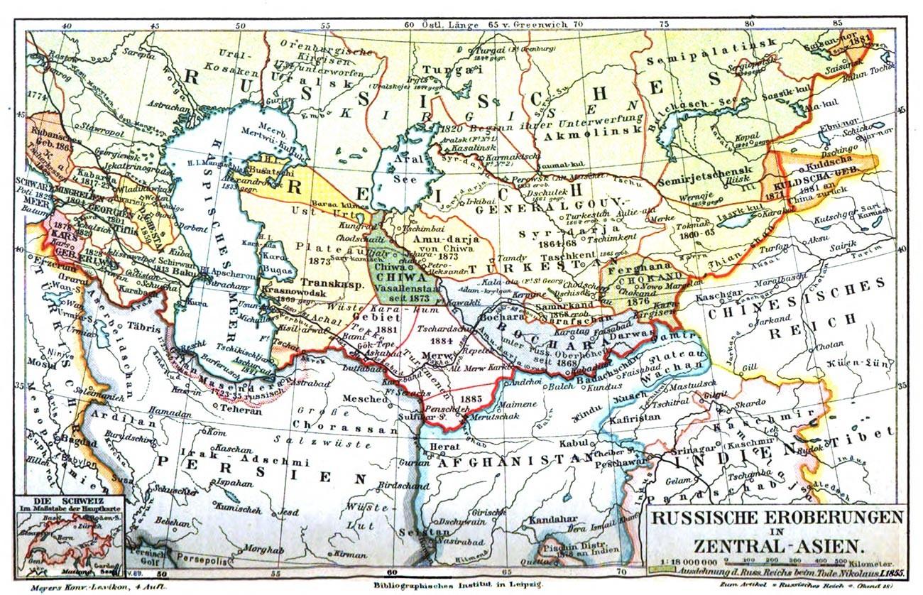 中央アジア、1885年の地図