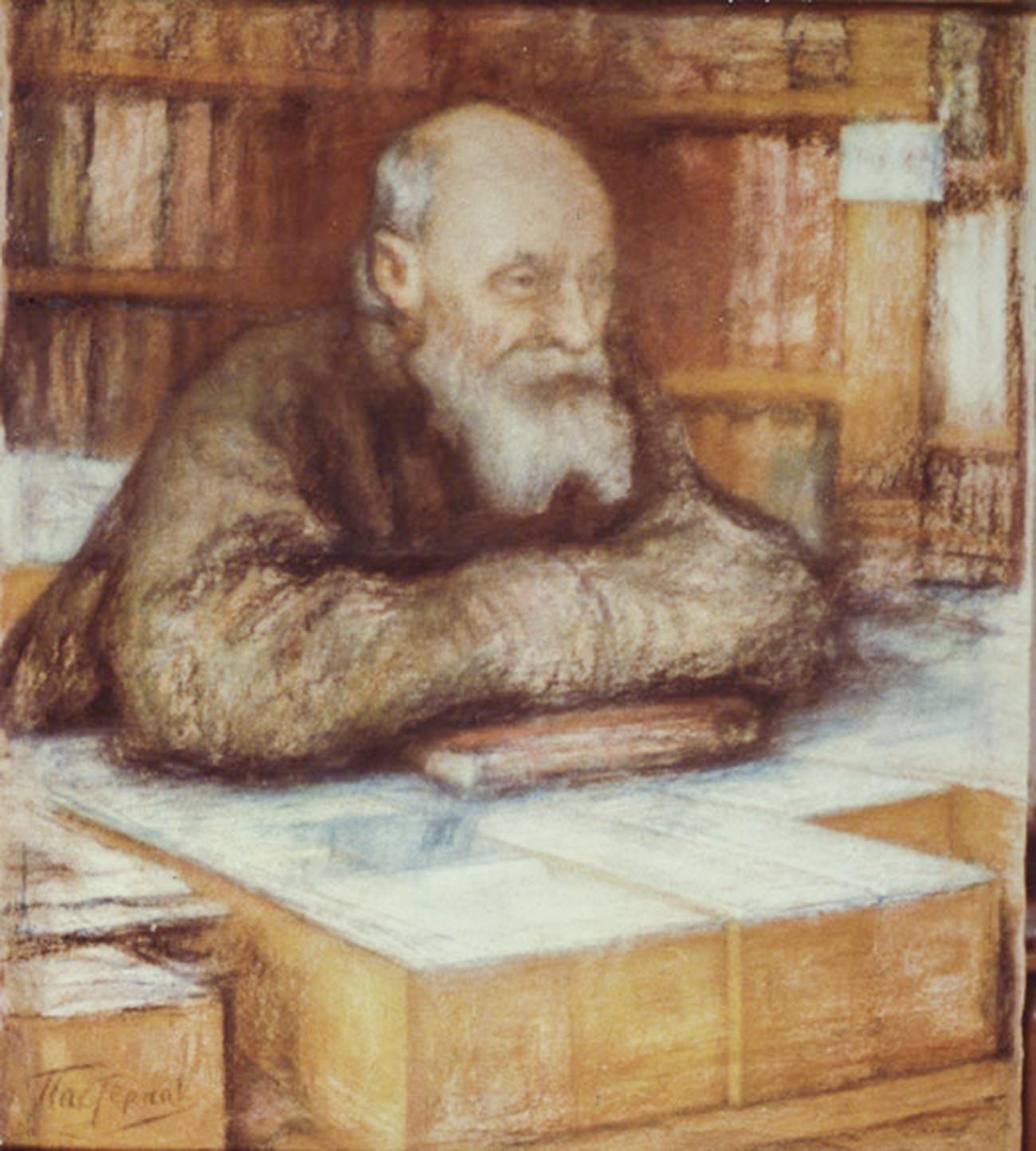 Portrait of Nikolay Fyodorov by Leonid Pasternak