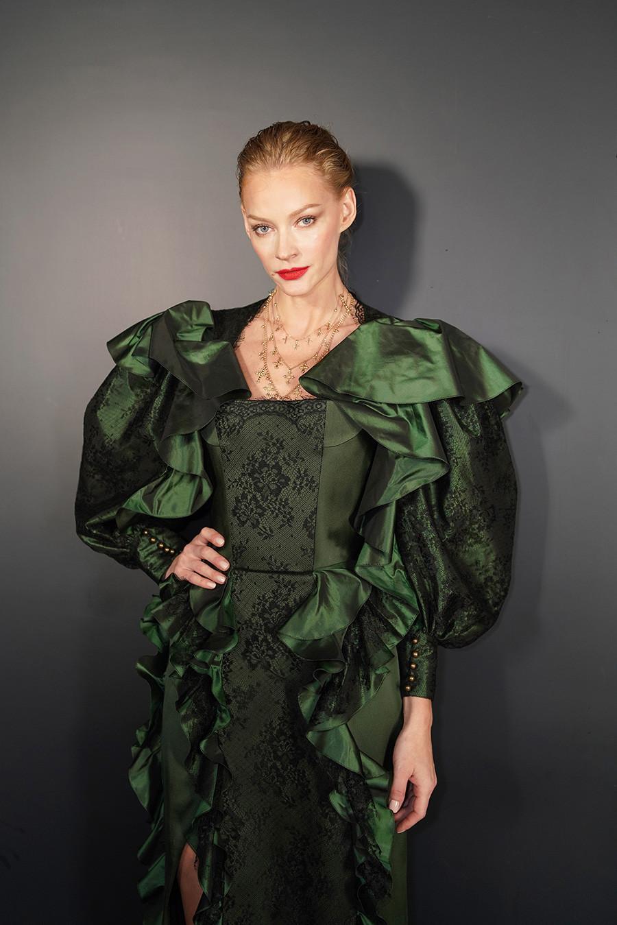 Svetlana Khodchenkova attends the Ulyana Sergeenko Spring Summer 2019 show as part of Paris Fashion Week at Theatre Marigny on January 21, 2019 in Paris, France