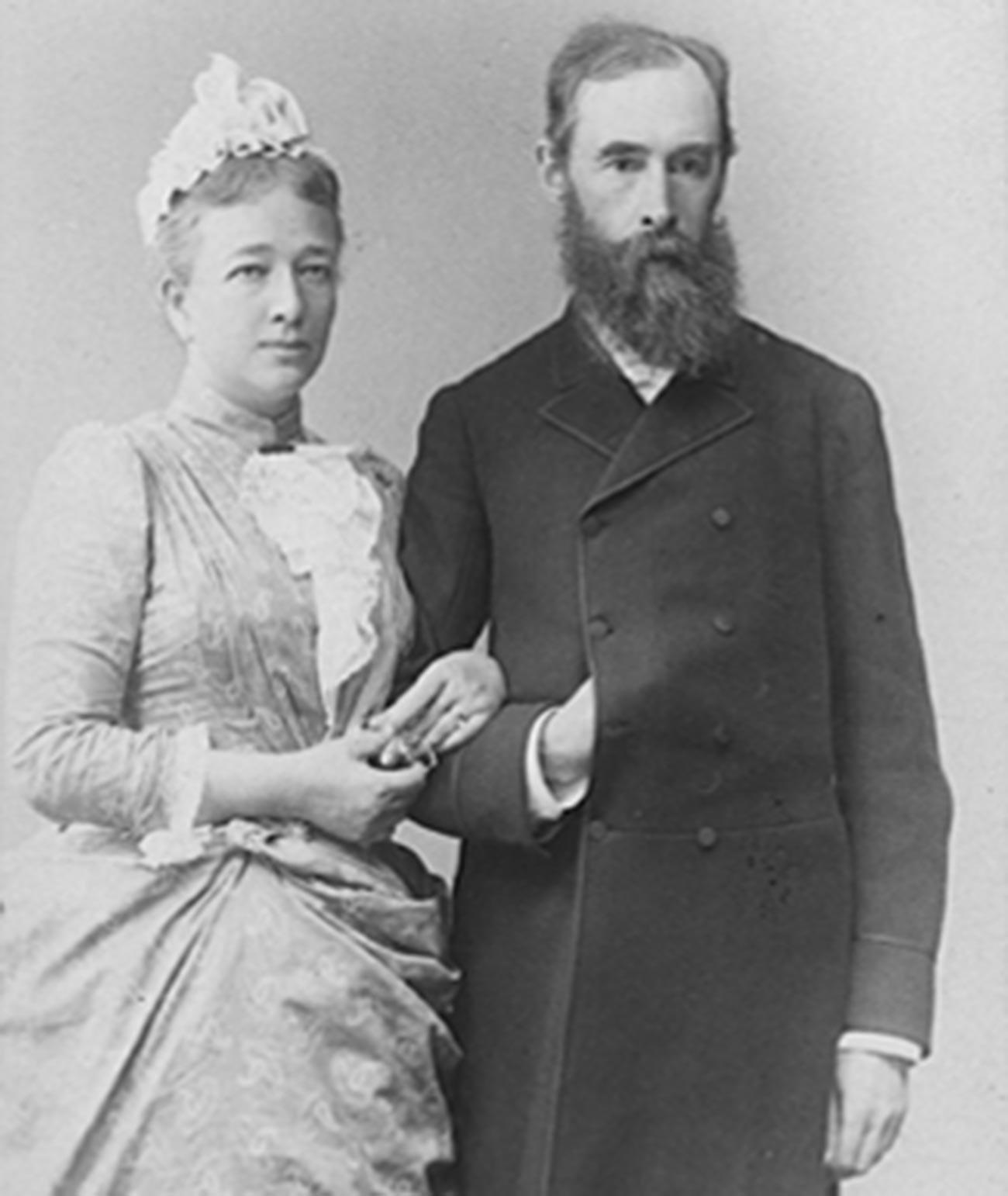 Pavel Tretjakov z ženo Vero Mamontovo