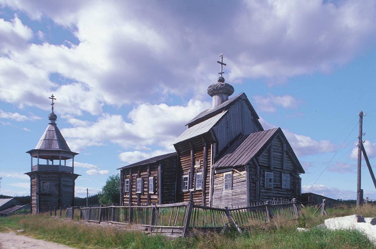Kovda. Church of St. Nicholas, southeast view with bell tower. July 24, 2001