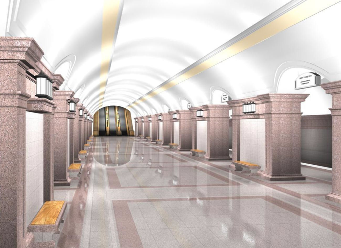 """Станица метроа """"Трг револуције"""", Чељабинск, -  приказ платформе за путнике у главном холу."""