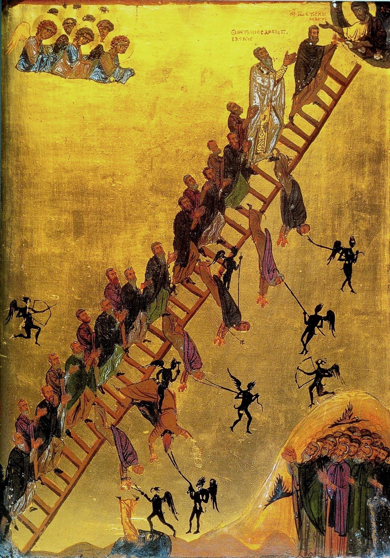 L'icona della Scala dell'Ascesa Divina risalente al XII secolo (Monastero di Santa Caterina, Penisola del Sinai, Egitto) che mostra dei monaci, guidati da Giovanni Climaco, che salgono la scala verso Gesù, in alto a destra