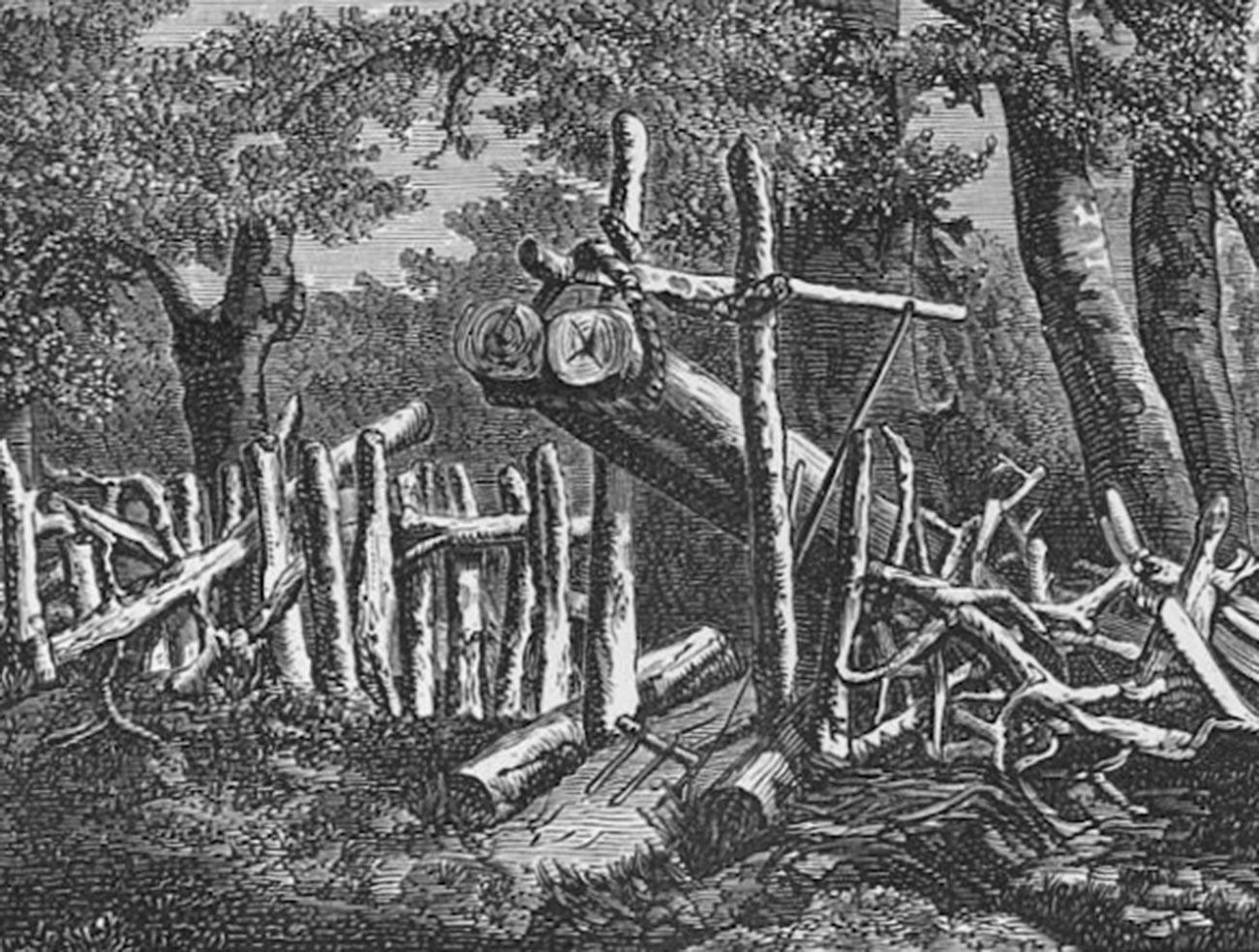 Shchemitsa, perangkap beruang yang terbuat dari batang-batang kayu