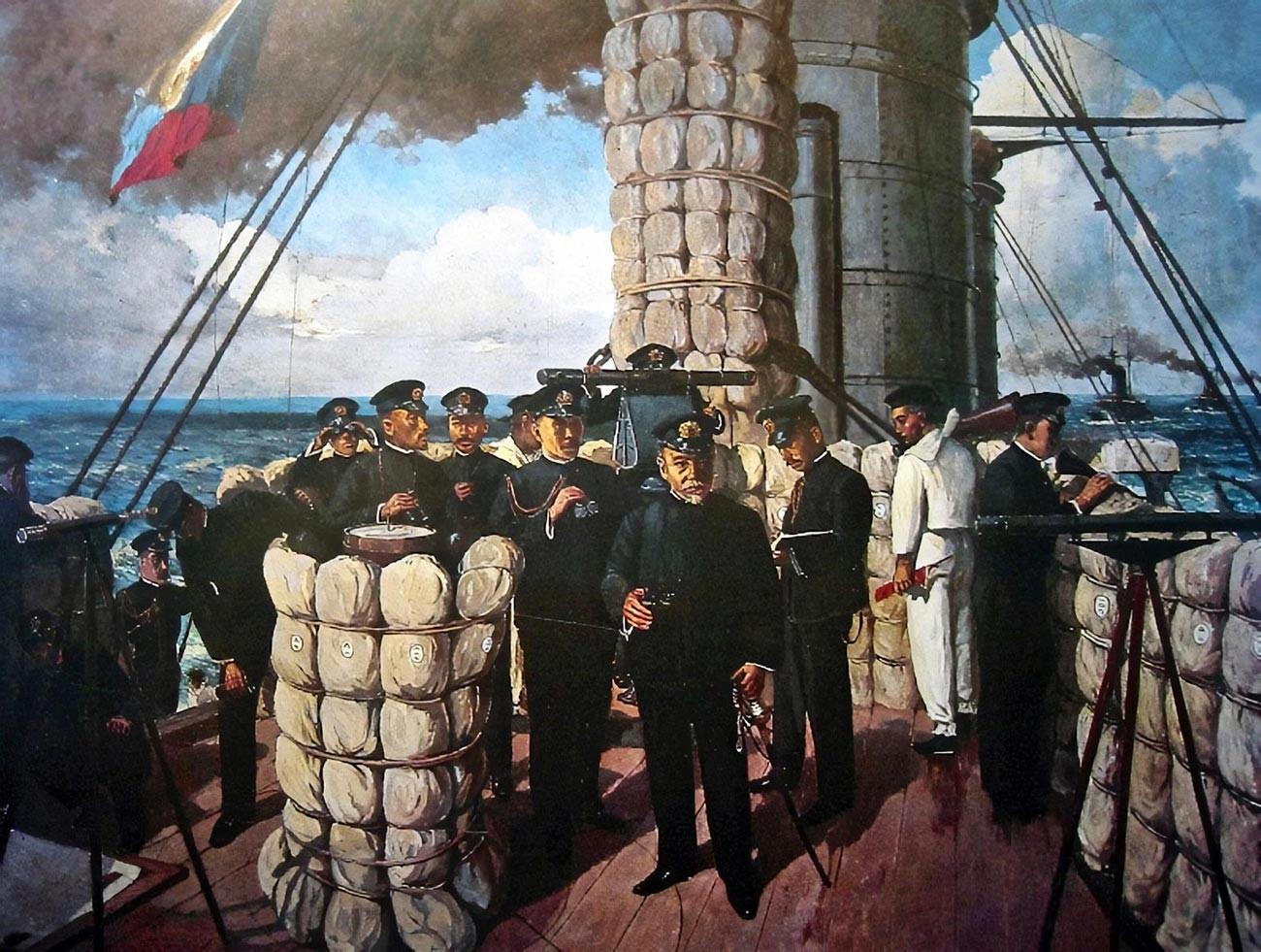 """Admiral Togo Heihachiro im Vorstand des Flaggschiff-Schlachtschiffs """"Mikasa""""."""