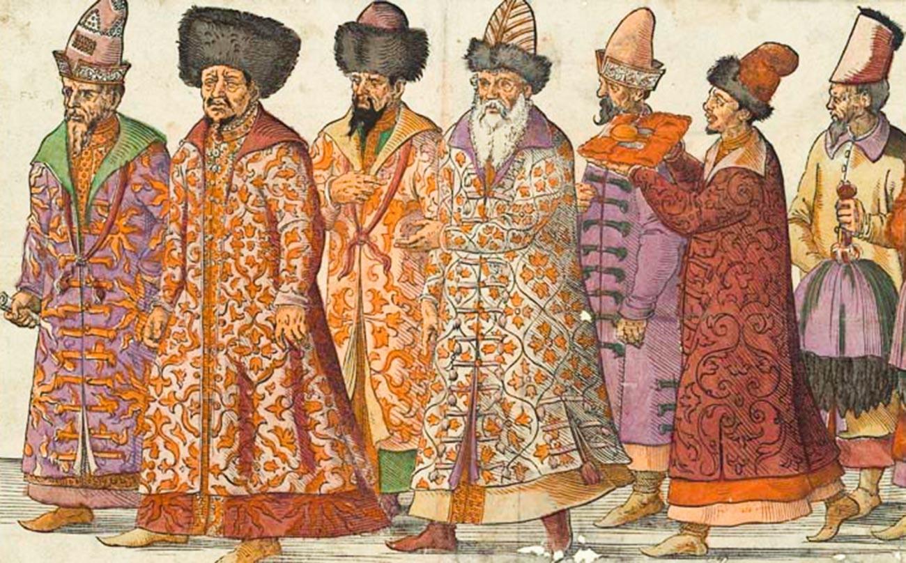 'Embaixada do Grão-duque de Moscou ao Sacro Imperador Romano Maximiliano II em Regensburg', 1576. Todos os enviados russos vestem elegantes chúbas.