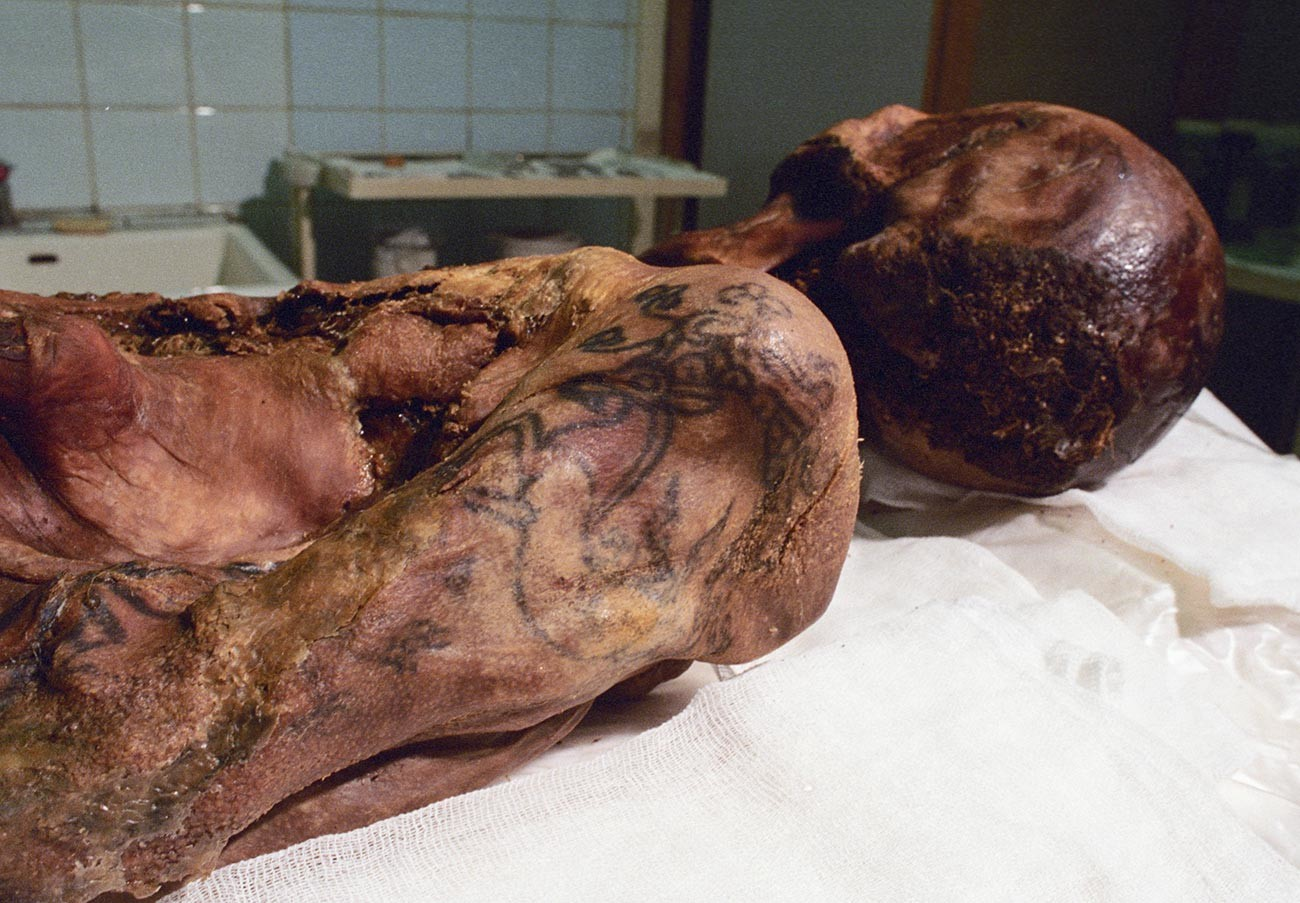 The carcass of the 'Siberian Ice Maiden,' with her tattooed arm visible.