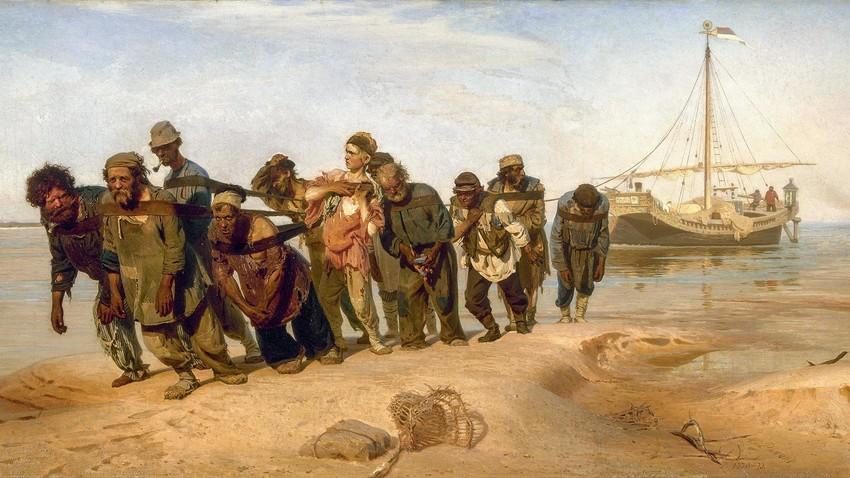 """""""Rebocadores de barcaça no Volga"""", pintura de Iliá Répin (1844-1930)."""